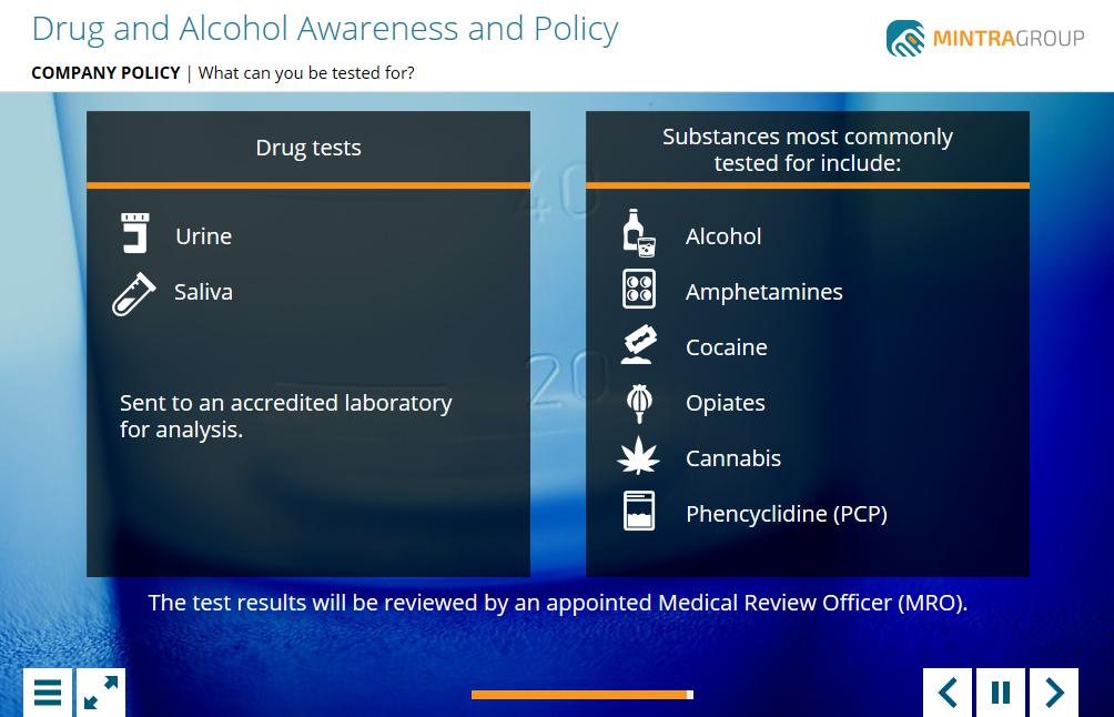 Drug and Alcohol Awareness and Policy Training