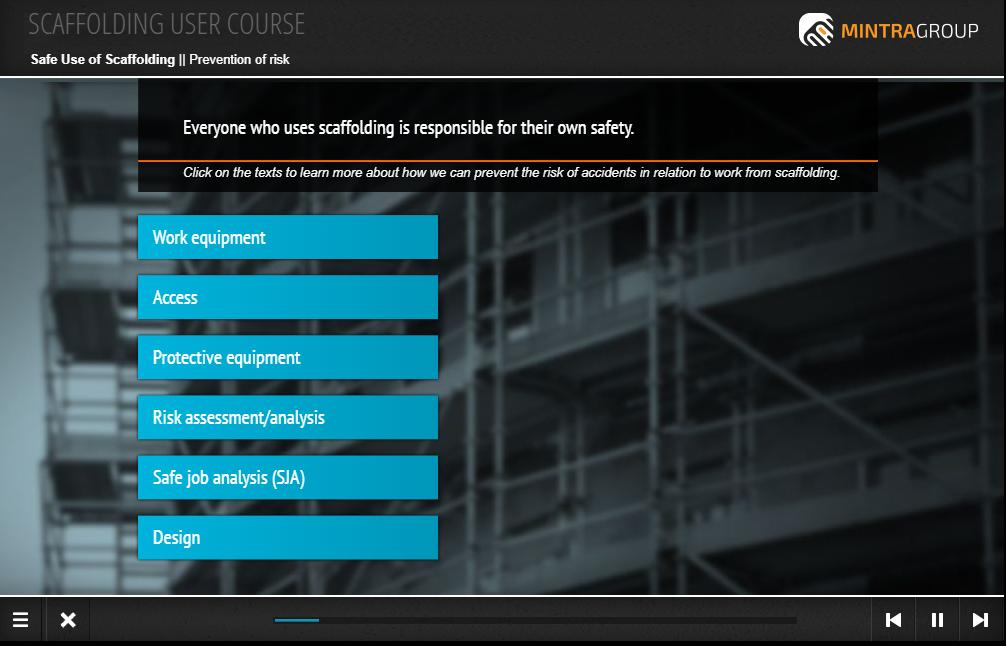 Scaffolding user course Training